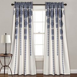 Navy Medallion Stripe Curtain Panel Set, 84 in.