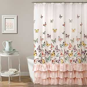 Pink Flutter Butterfly Shower Curtain