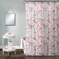 Gray Pixie Fox Shower Curtain