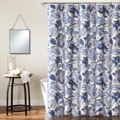 Cynthia Jacobean Blue Shower Curtain