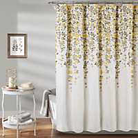Yellow And Gray Weeping Flower Shower Curtain