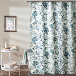 Cynthia Jacobean Dusty Blue Shower Curtain