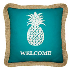 Teal Welcome Pineapple Outdoor Pillow