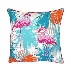Flamingos and Palms Outdoor Pillow