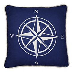 Navy Compass Outdoor Pillow