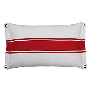 Red Stripe and Grommets Outdoor Accent Pillow