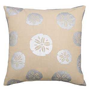 Silver Sand Dollars Linen Outdoor Pillow