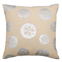 Silver Sand Dollars Linen Outdoor Pillow