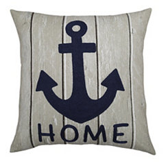 Navy Anchor Home Outdoor Pillow