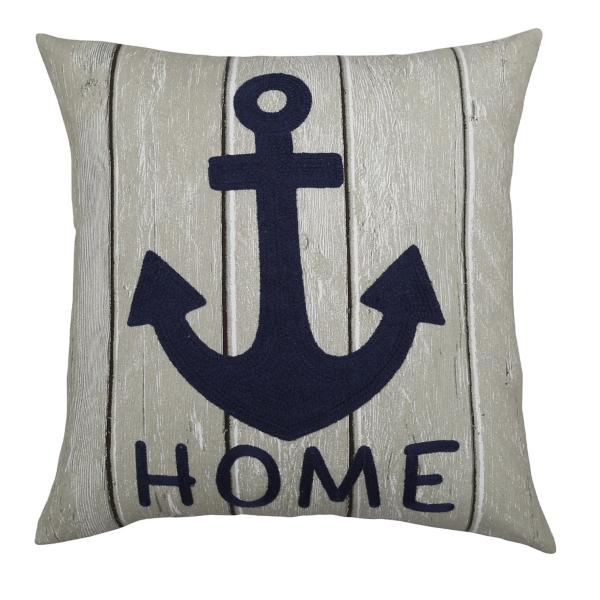 Navy Anchor Home Outdoor Pillow