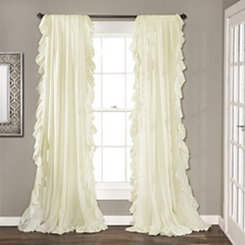 Reyna Ivory Ruffle Curtain Panel Set, 96 in.
