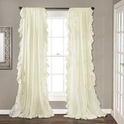 Reyna Ivory Ruffle Curtain Panel Set, 96 in.