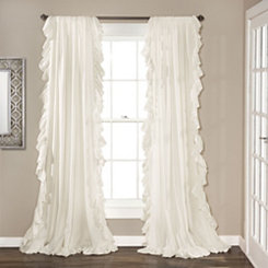 Reyna White Ruffle Curtain Panel Set, 96 in.