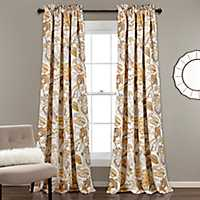 Yellow and Gray Cynthia Curtain Panel Set, 84 in.