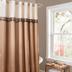 Terra Beige and Ivory Shower Curtain