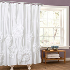 Serena White Shower Curtain