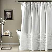 Avery White Shower Curtain