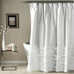 Avery White Shower Curtain