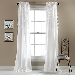 White Avery Curtain Panel Set, 84 in.