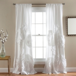 White Serena Curtain Panel, 84 in.