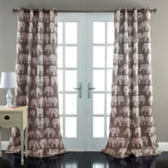 Gray Elephant Parade Curtain Panel Set, 84 in.