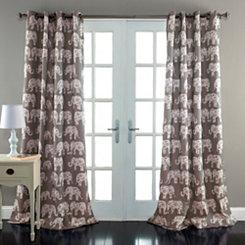 Gray Elephant Parade Curtain Panel Set, 84 in.
