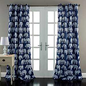 Navy Elephant Parade Curtain Panel Set, 84 in.