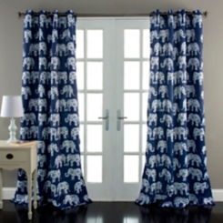 Navy Elephant Parade Curtain Panel Set, 84 in.