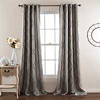 Gray Swirl Curtain Panel Set, 84 in.