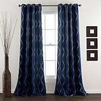 Navy Swirl Curtain Panel Set, 84 in.