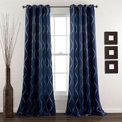 Navy Swirl Curtain Panel Set, 84 in.