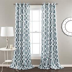 Edward Blue Curtain Panel Set, 84 in.
