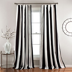 Black Wilbur Curtain Panel Set, 84 in.