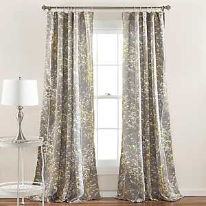 Yellow and Gray Forest Curtain Panel Set, 84 in.