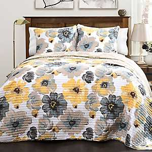 Yellow and Gray Leah 3-pc. Full/Queen Quilt Set