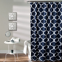 Navy Geometric Shower Curtain