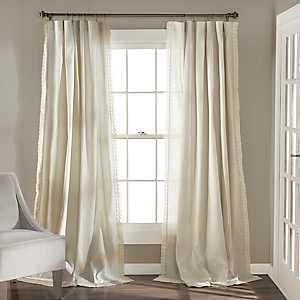 Ivory Rosalie Curtain Panel Set, 84 in.