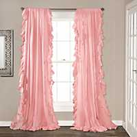 Reyna Pink Ruffle Curtain Panel Set, 84 in.