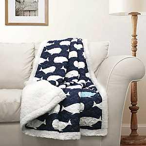 Navy Whale Sherpa Blanket