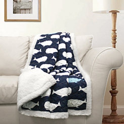 Navy Whale Sherpa Blanket