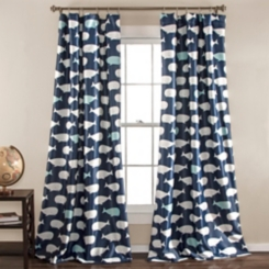 Navy Whale Curtain Panel Set, 84 in.