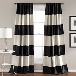 Black Montego Stripe Curtain Panel Set, 84 in.