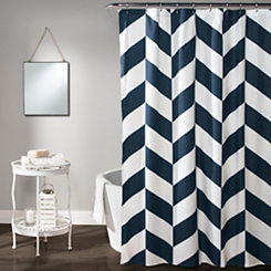Jigsaw Chevron Shower Curtain