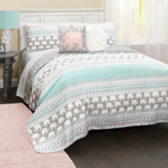 Elephant Striped 5-pc. Full/Queen Quilt Set