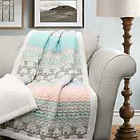 Elephant Striped Sherpa Blanket