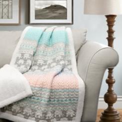 Elephant Striped Sherpa Blanket