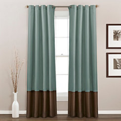 Blue And Chocolate Prima Curtain Panel Set, 84 in.