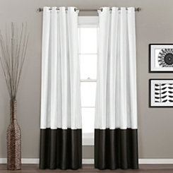 Black And White Prima Curtain Panel Set, 84 in.