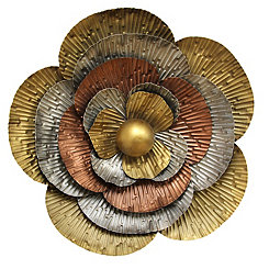 Tri-Color Flower Blossom Metal Wall Plaque