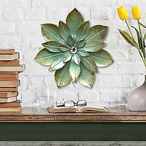 Green Embellished Flower Metal Wall Plaque